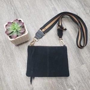 H&M Black Genuine Suede Leather Crossbody Bag